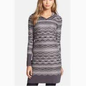 Prana Dresses - Prana Gray White Striped Sweater Meryl Dress